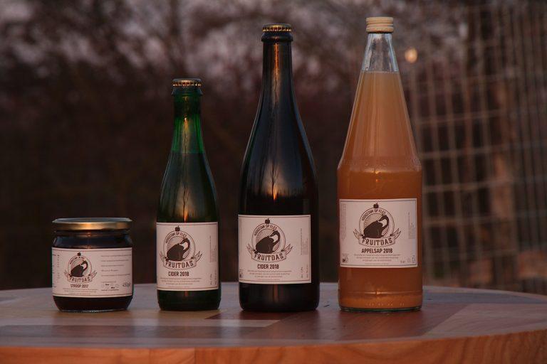 Haspengouwse hoogstam producten van Fruitdas. Appelsap, belgische cider, Loonse stroop