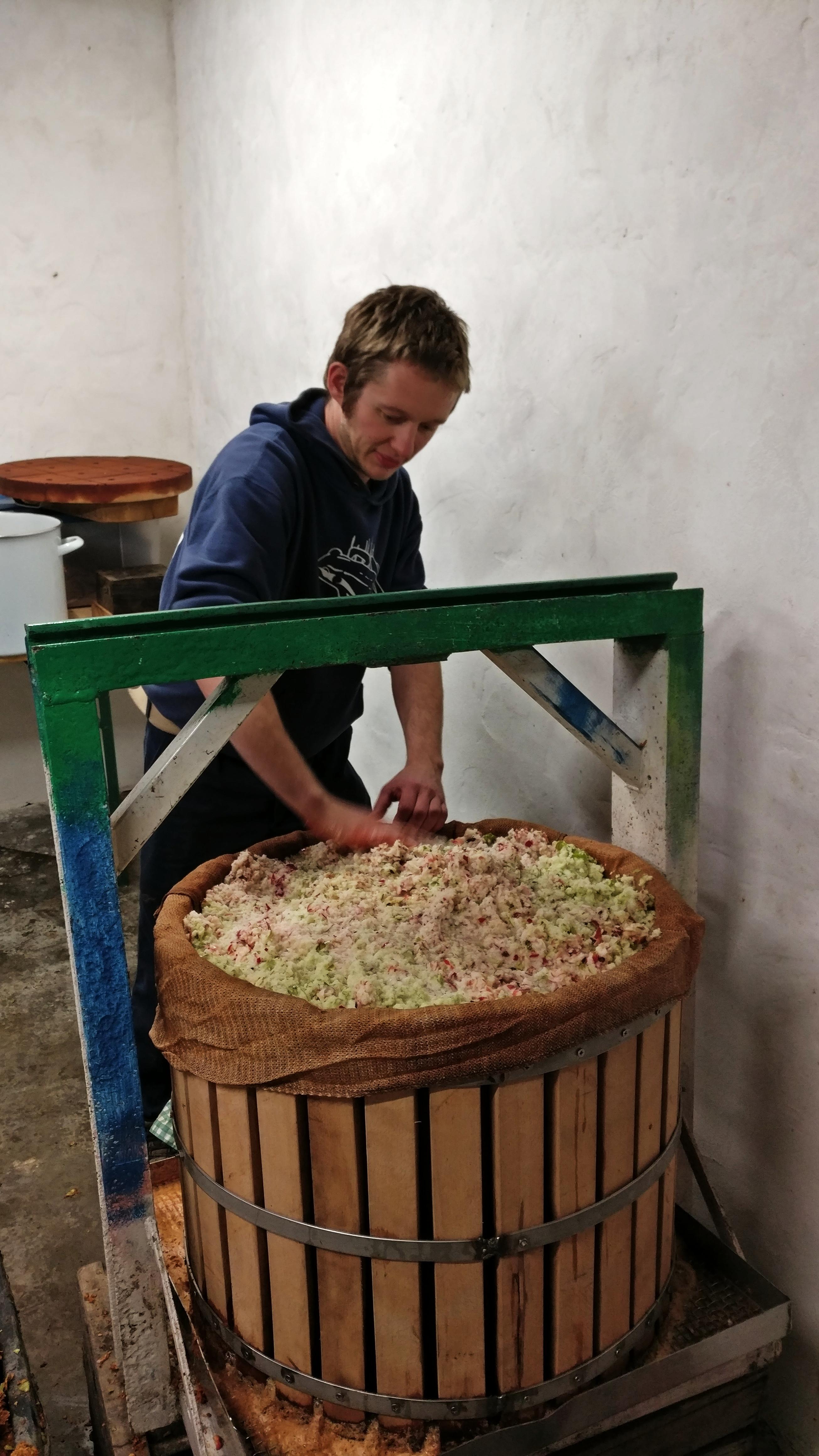De oude pers voor appelsap wordt gevuld